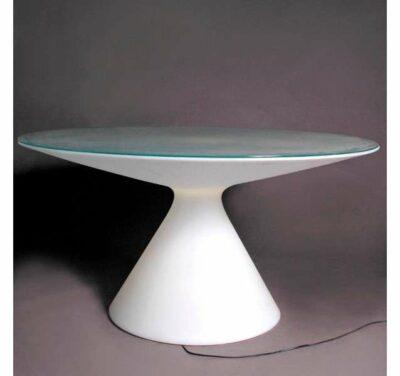 TABLE ED BLANC AVEC PLATEAU VERRE
